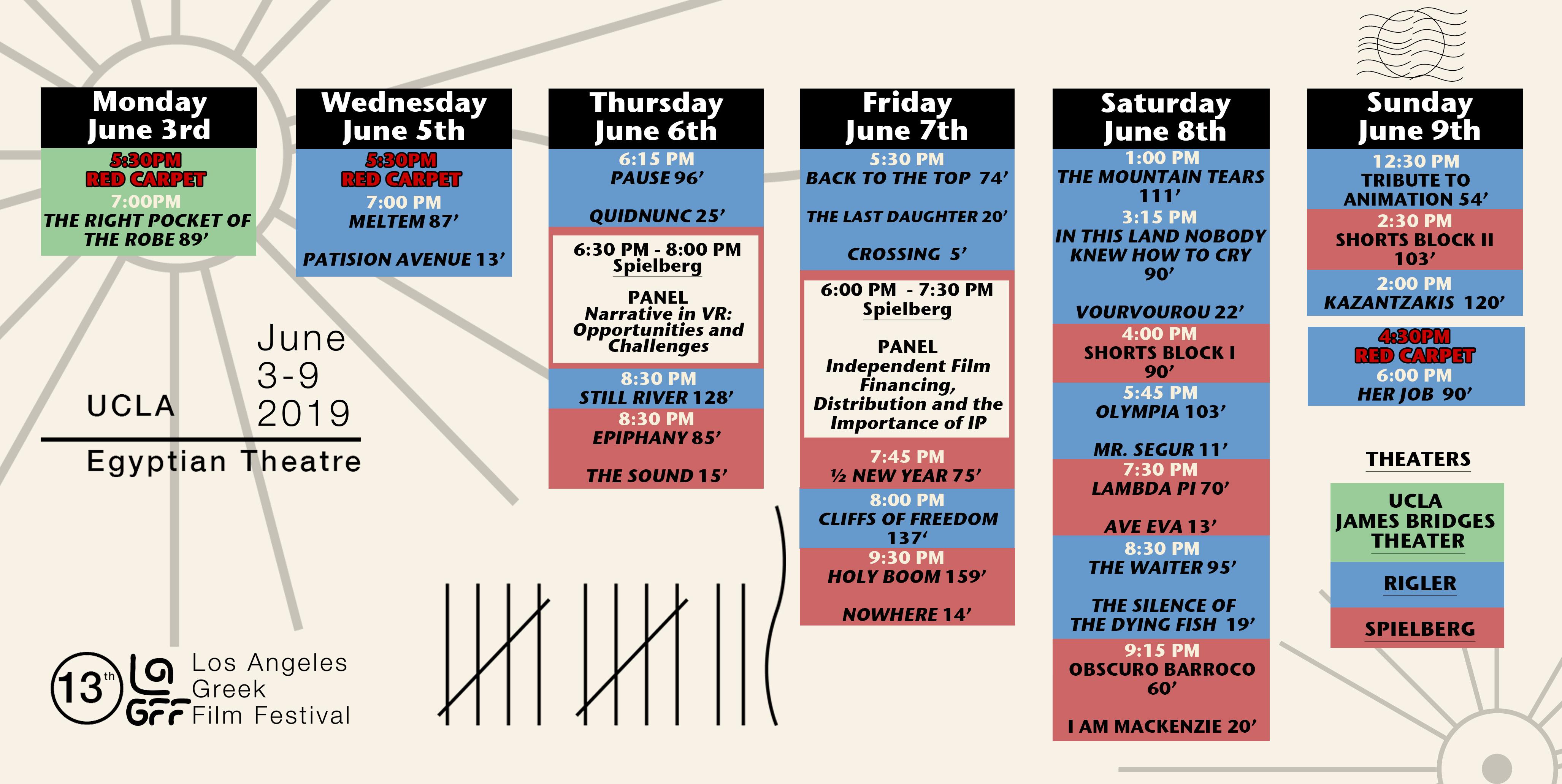SCHEDULE - Los Angeles Greek Film Festival