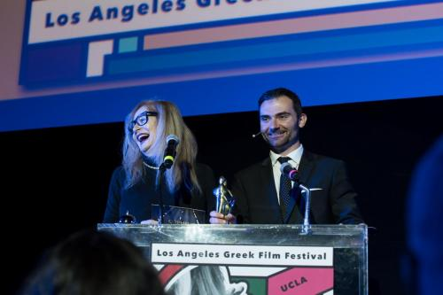 (From left) Director Penelope Spheeris and Orpheus Awards Host Chuck Dukas
