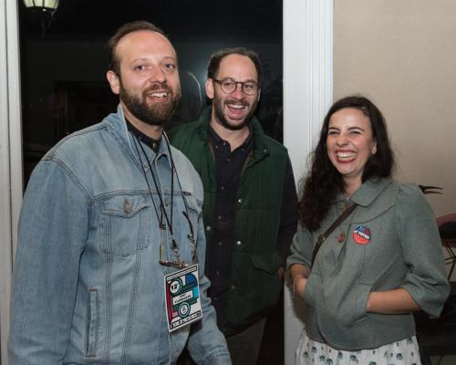 (From left) IPDF filmmaker Orpheas Peretzis, LAGFF trailer filmmaker Joel Garber and IPDF Director Araceli Lemos