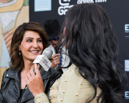 Nia Vardalos talking to the Greek Reporter