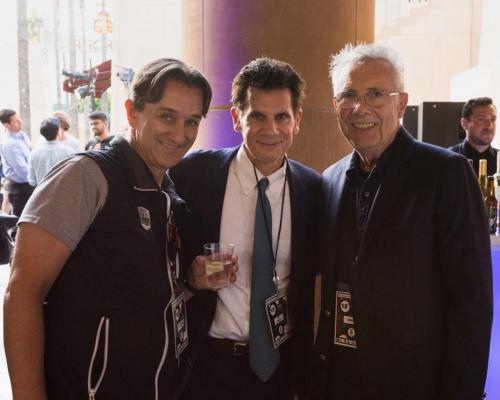 (From left) Sponsors George Zanganas (Georgos wines), Don Andrews (ReedSmith) and Variety's Peter Caranicas